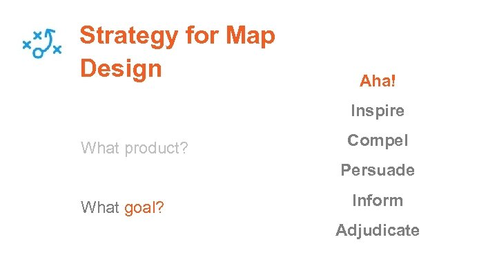 Strategy for Map Design Aha! Inspire What product? Compel Persuade What goal? Inform Adjudicate
