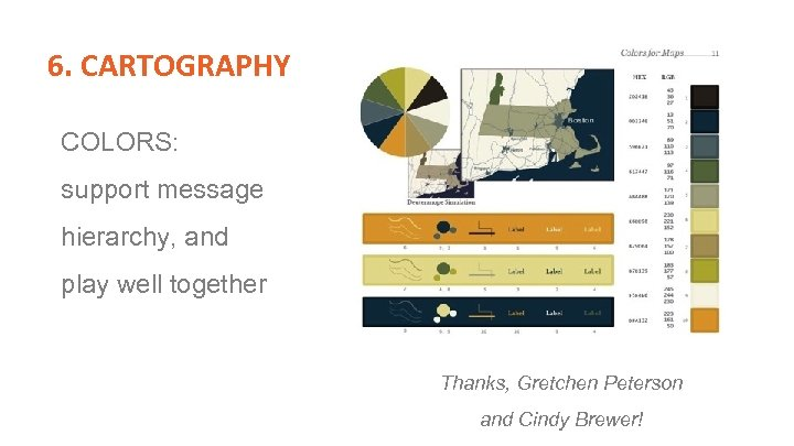 6. CARTOGRAPHY COLORS: support message hierarchy, and play well together Thanks, Gretchen Peterson and