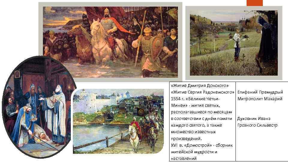 «Житие Дмитрия Донского» «Житие Сергия Радонежского» 1554 г. «Великие Четьи- Минеи» - жития