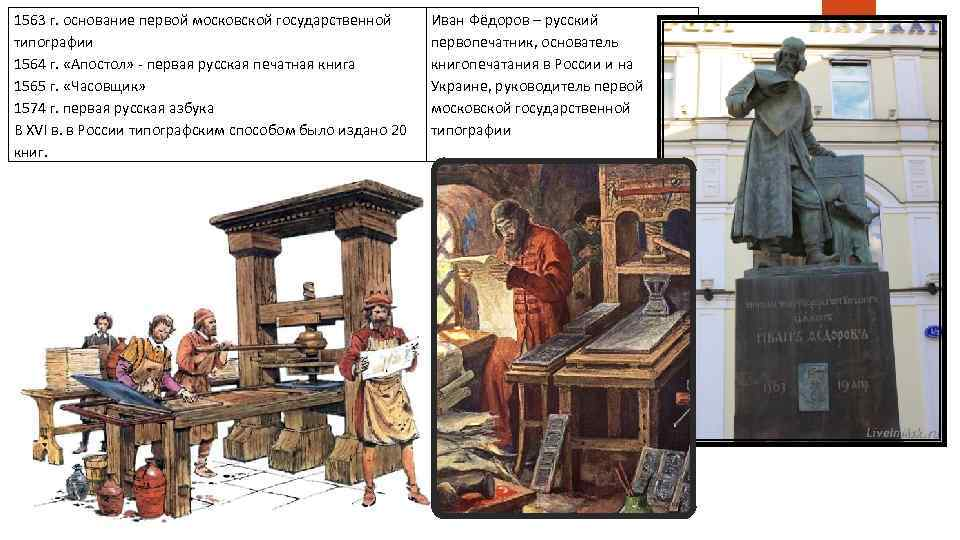1563 г. основание первой московской государственной типографии 1564 г. «Апостол» - первая русская печатная