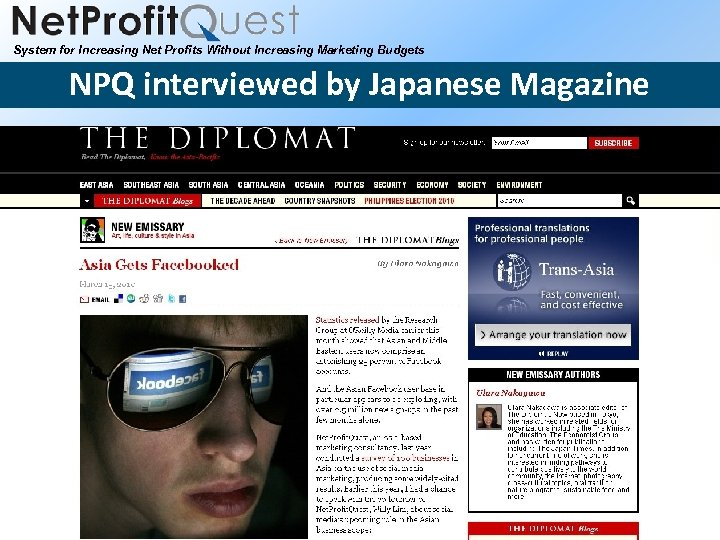 System for Increasing Net Profits Without Increasing Marketing Budgets NPQ interviewed by Japanese Magazine