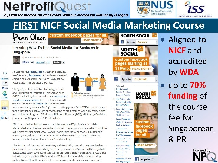 System for Increasing Net Profits Without Increasing Marketing Budgets FIRST NICF Social Media Marketing