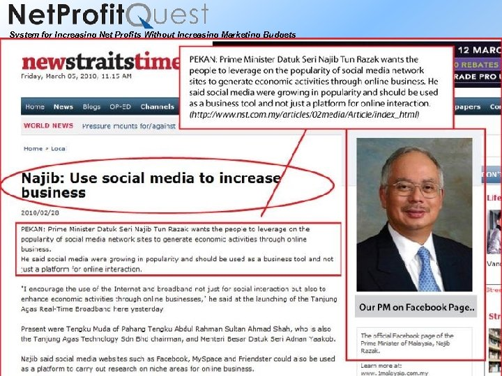System for Increasing Net Profits Without Increasing Marketing Budgets 2010 Net. Profit. Quest Pte