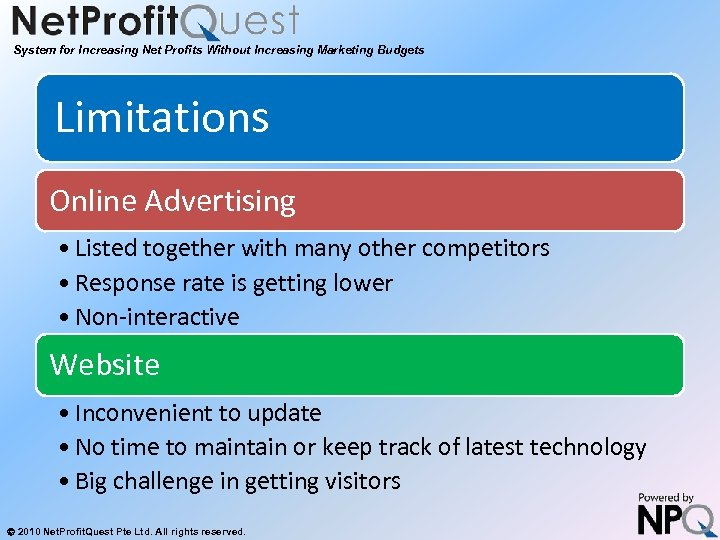 System for Increasing Net Profits Without Increasing Marketing Budgets Limitations Online Advertising • Listed