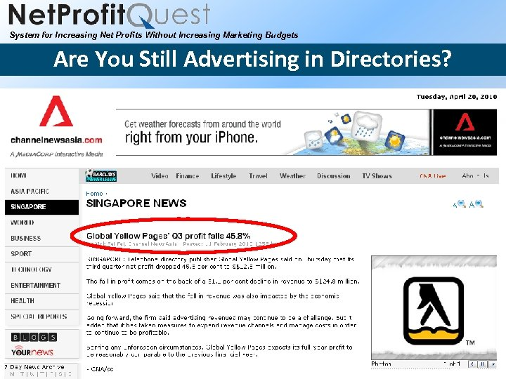 System for Increasing Net Profits Without Increasing Marketing Budgets Are You Still Advertising in