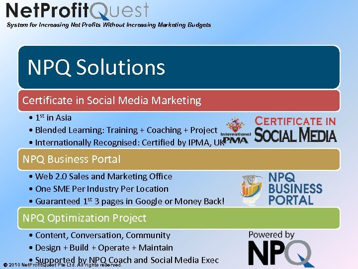 System for Increasing Net Profits Without Increasing Marketing Budgets NPQ Solutions Certificate in Social