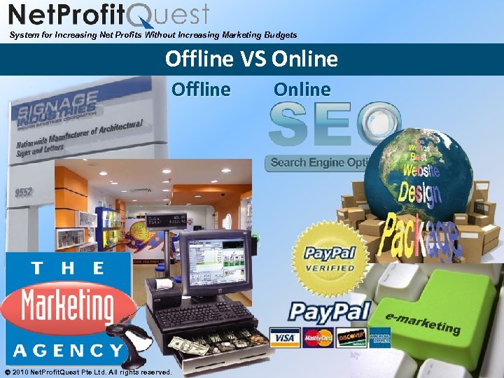System for Increasing Net Profits Without Increasing Marketing Budgets Offline VS Online Offline 2010
