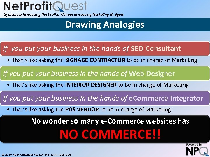 System for Increasing Net Profits Without Increasing Marketing Budgets Drawing Analogies If you put