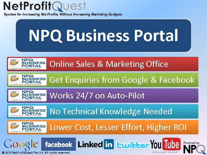 System for Increasing Net Profits Without Increasing Marketing Budgets NPQ Business Portal Online Sales