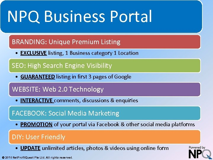 NPQ Business Portal System for Increasing Net Profits Without Increasing Marketing Budgets BRANDING: Unique