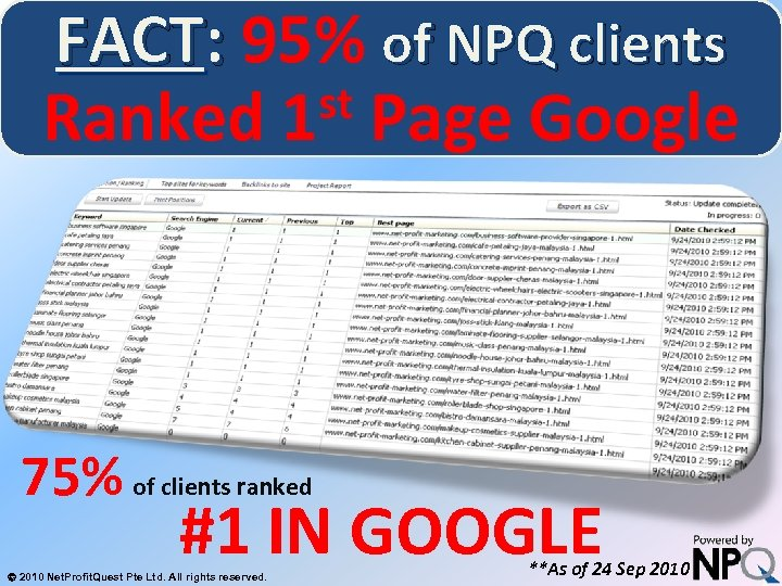 FACT: 95% of NPQ clients st Page Google Ranked 1 System for Increasing Net