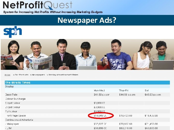 System for Increasing Net Profits Without Increasing Marketing Budgets Newspaper Ads? 2010 Net. Profit.