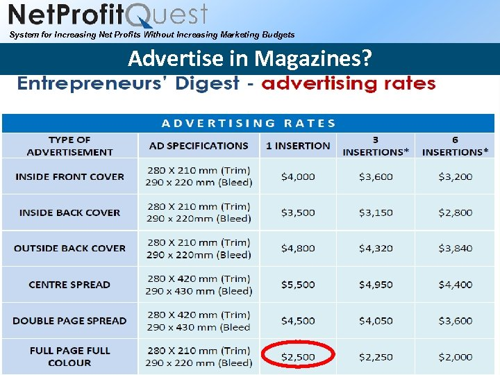 System for Increasing Net Profits Without Increasing Marketing Budgets Advertise in Magazines? 2010 Net.