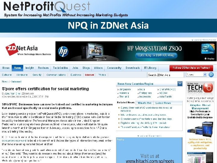 System for Increasing Net Profits Without Increasing Marketing Budgets NPQ in ZDNet Asia 2010