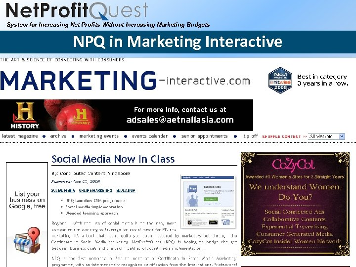 System for Increasing Net Profits Without Increasing Marketing Budgets NPQ in Marketing Interactive 2010