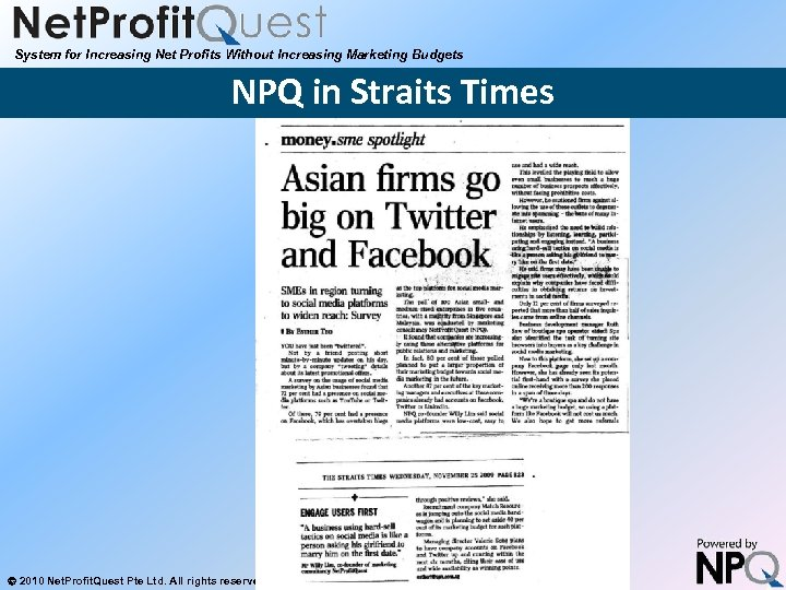 System for Increasing Net Profits Without Increasing Marketing Budgets NPQ in Straits Times 2010
