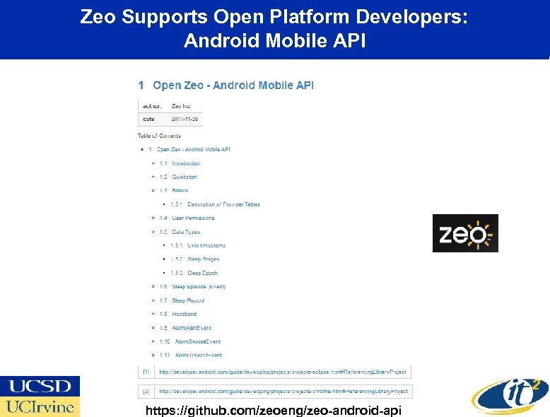 Zeo Supports Open Platform Developers: Android Mobile API https: //github. com/zeoeng/zeo-android-api