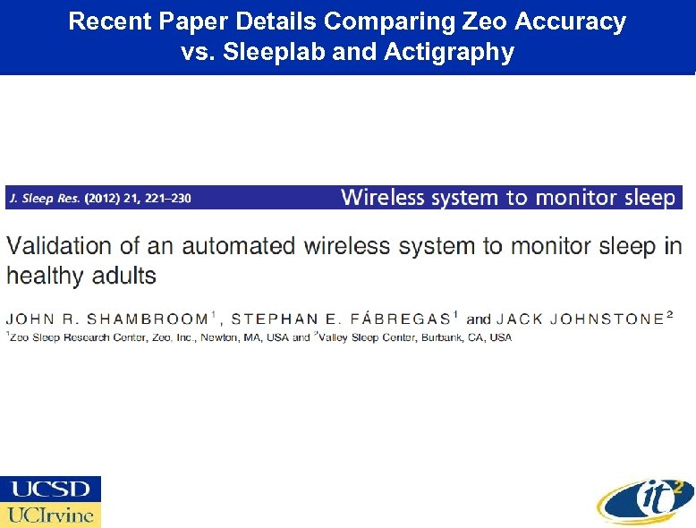 Recent Paper Details Comparing Zeo Accuracy vs. Sleeplab and Actigraphy