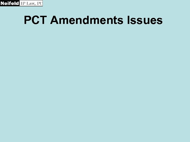 PCT Amendments Issues