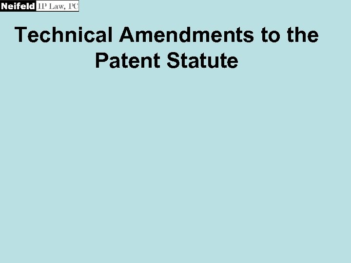 Technical Amendments to the Patent Statute