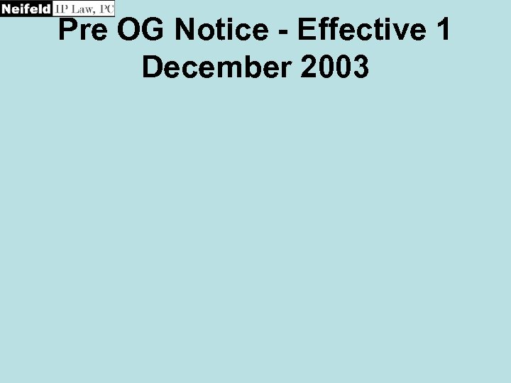 Pre OG Notice - Effective 1 December 2003