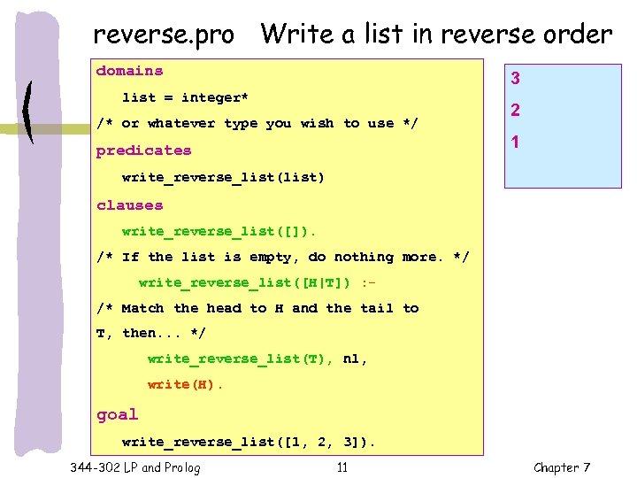 reverse. pro Write a list in reverse order domains 3 list = integer* /*
