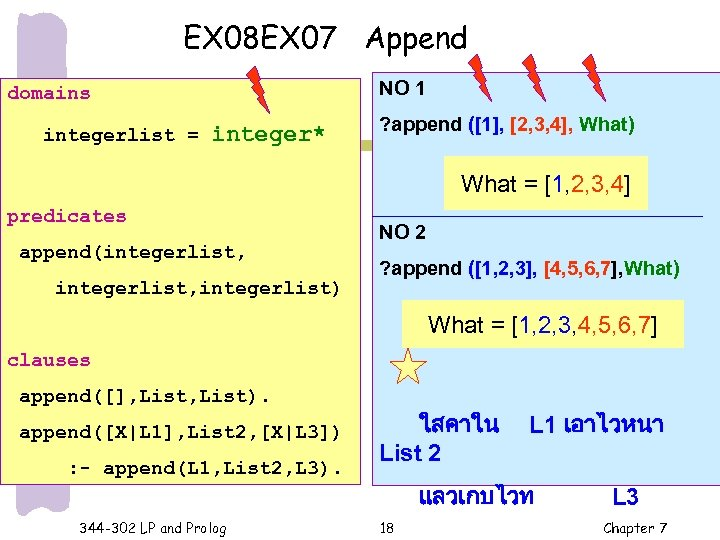 EX 08 EX 07 Append NO 1 domains integerlist = integer* ? append ([1],