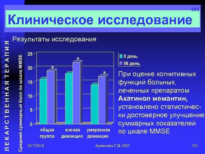 101 Результаты исследования Средний суммарный балл по шкале MMSE ЛЕКАРСТВЕННАЯ ТЕРАПИЯ Клиническое исследование *