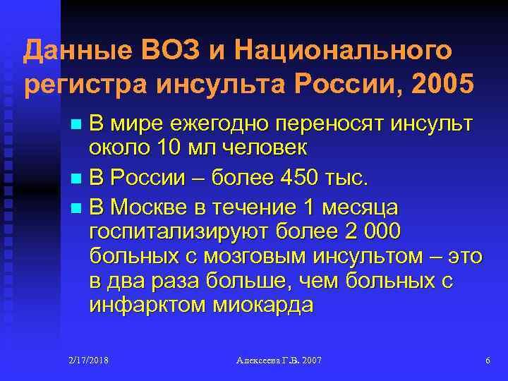 Данные ВОЗ и Национального регистра инсульта России, 2005 В мире ежегодно переносят инсульт около