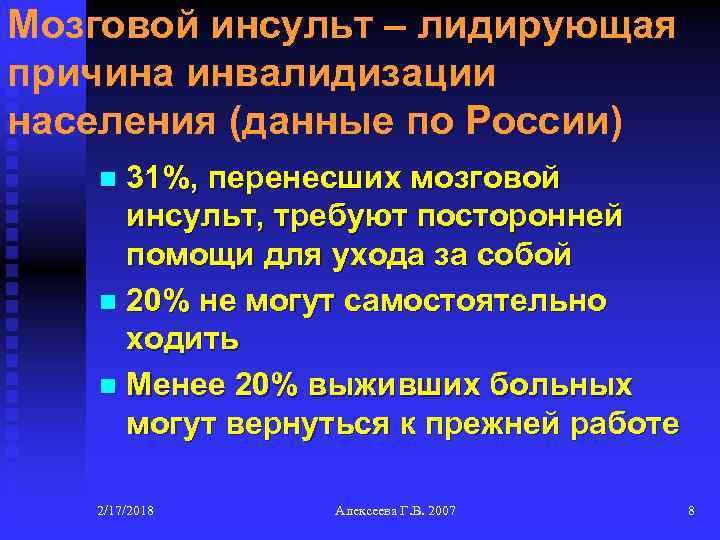 Мозговой инсульт – лидирующая причина инвалидизации населения (данные по России) 31%, перенесших мозговой инсульт,
