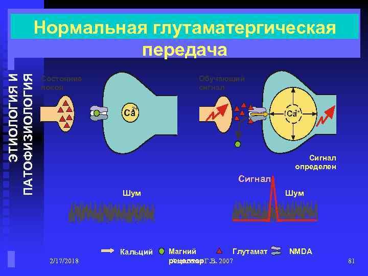 ЭТИОЛОГИЯ И ПАТОФИЗИОЛОГИЯ Нормальная глутаматергическая передача Состояние покоя Обучающий сигнал Ca 2+ Ca Сигнал