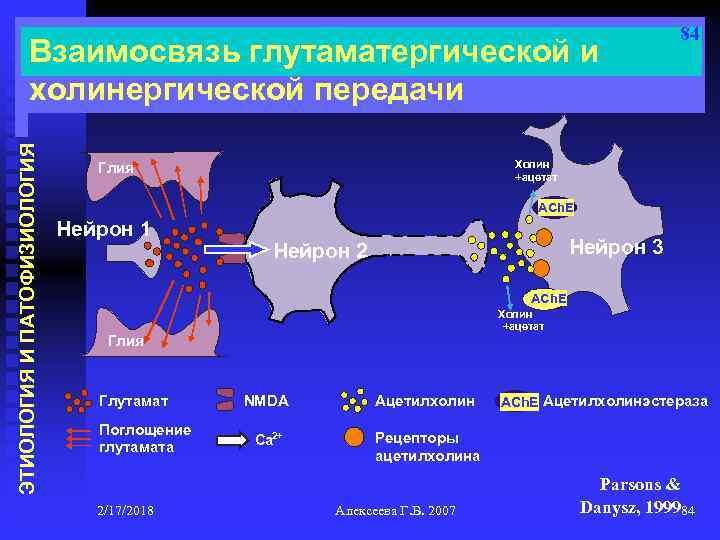 ЭТИОЛОГИЯ И ПАТОФИЗИОЛОГИЯ Взаимосвязь глутаматергической и холинергической передачи 84 Холин +ацетат Глия ACh. E