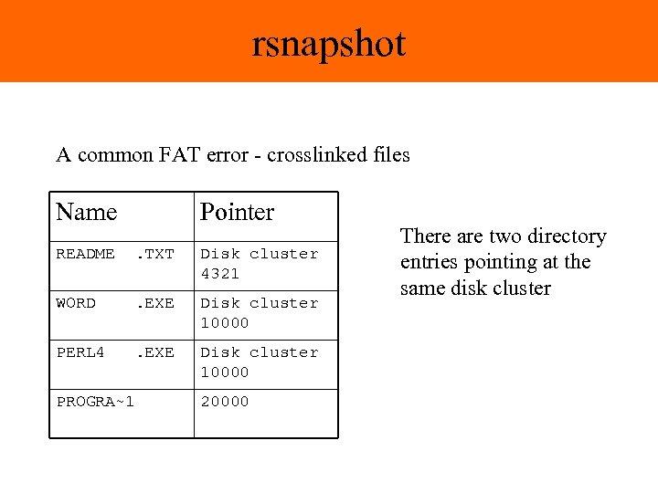 rsnapshot A common FAT error - crosslinked files Name Pointer README . TXT Disk