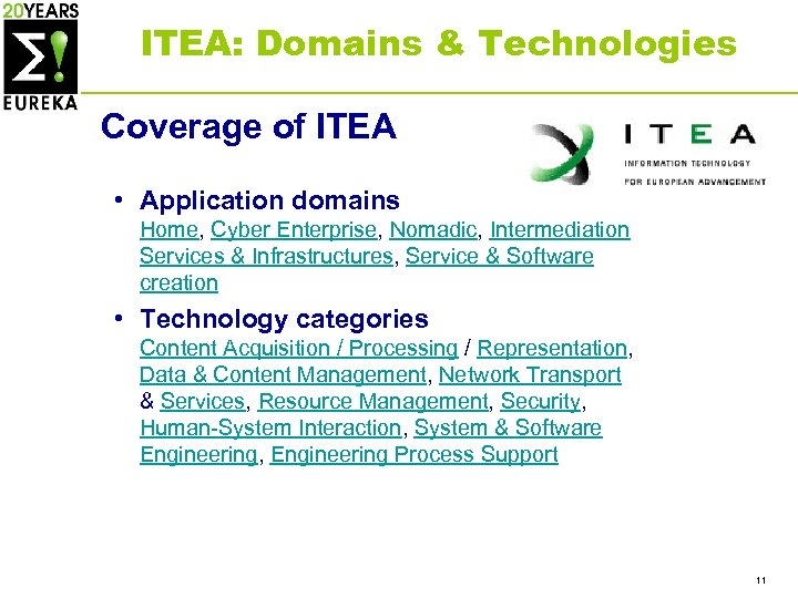ITEA: Domains & Technologies Coverage of ITEA • Application domains Home, Cyber Enterprise, Nomadic,