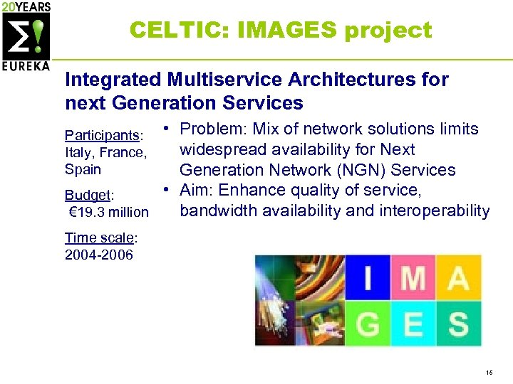 CELTIC: IMAGES project Integrated Multiservice Architectures for next Generation Services • Problem: Mix of