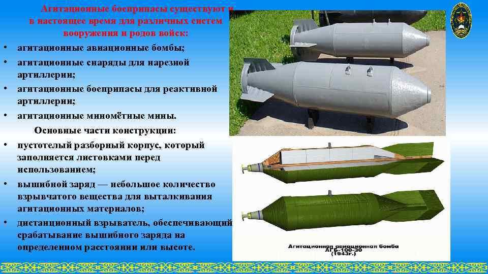 Агитационные боеприпасы существуют и в настоящее время для различных систем вооружения и родов войск: