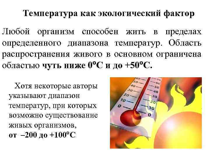 Температура как экологический фактор Любой организм способен жить в пределах определенного диапазона температур. Область