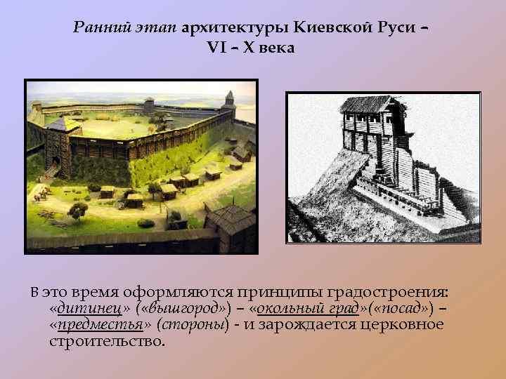 Ранний этап архитектуры Киевской Руси – VI – X века В это время оформляются