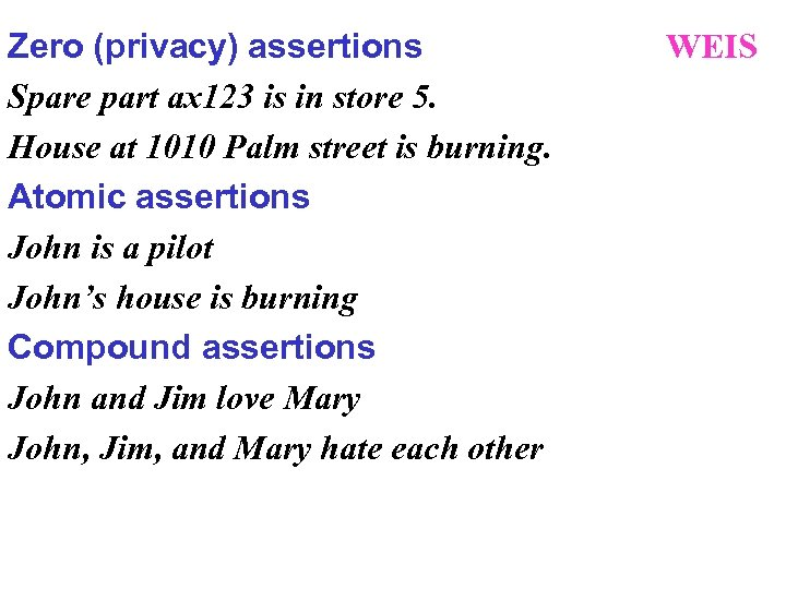 Zero (privacy) assertions Spare part ax 123 is in store 5. House at 1010