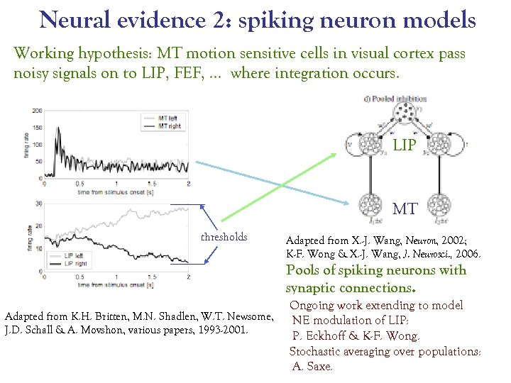 Neural evidence 2: spiking neuron models Working hypothesis: MT motion sensitive cells in visual