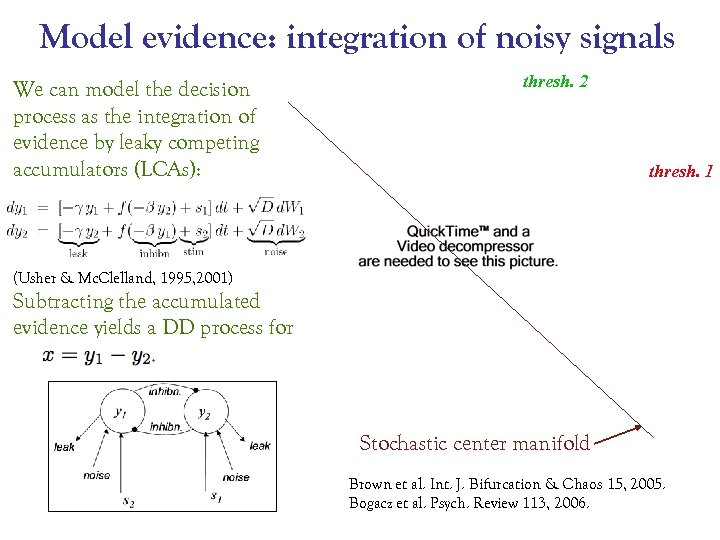 Model evidence: integration of noisy signals We can model the decision process as the