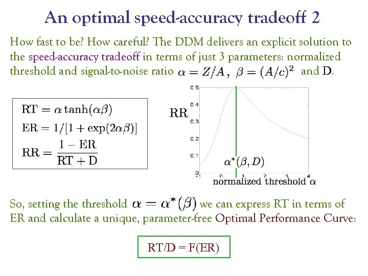An optimal speed-accuracy tradeoff 2 How fast to be? How careful? The DDM delivers