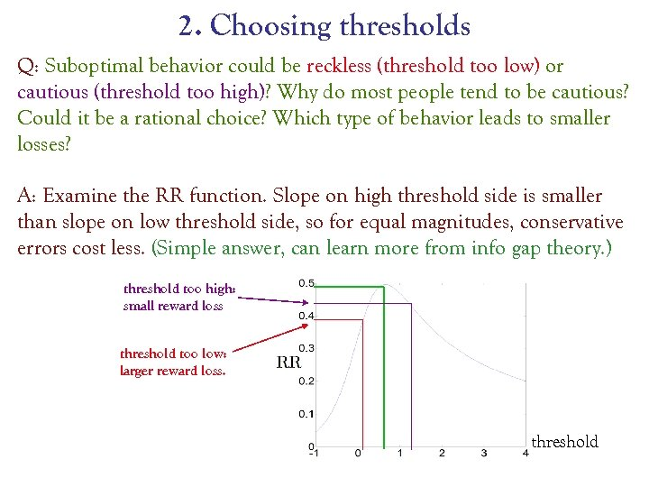2. Choosing thresholds Q: Suboptimal behavior could be reckless (threshold too low) or cautious
