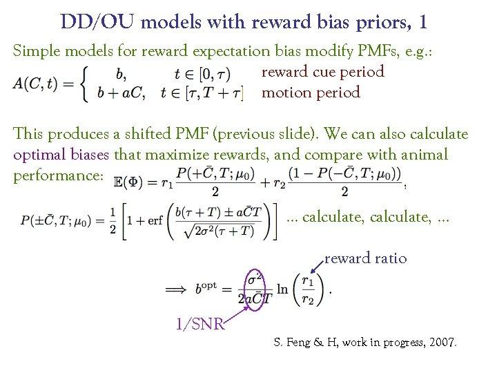 DD/OU models with reward bias priors, 1 Simple models for reward expectation bias modify
