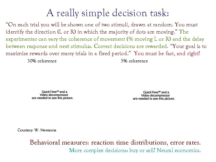 """A really simple decision task: """"On each trial you will be shown one of"""