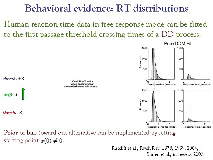 Behavioral evidence: RT distributions Human reaction time data in free response mode can be
