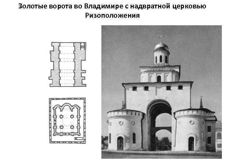 Золотые ворота во Владимире с надвратной церковью Ризоположения