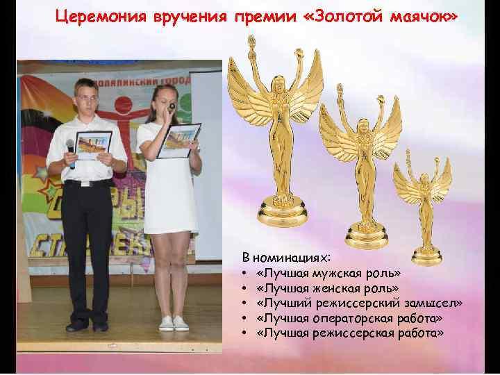 Церемония вручения премии «Золотой маячок» В номинациях: • «Лучшая мужская роль» • «Лучшая женская