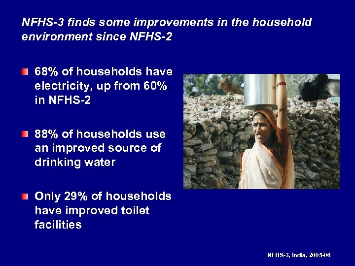 NFHS-3 finds some improvements in the household environment since NFHS-2 68% of households have