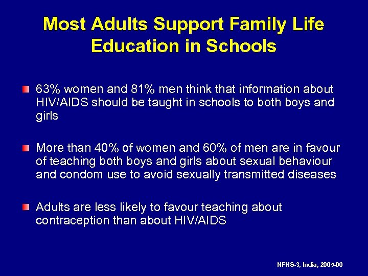 Most Adults Support Family Life Education in Schools 63% women and 81% men think